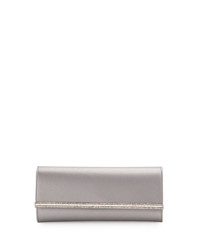 Tuxedo Crystal-Trim Satin Clutch Bag, Light Gray