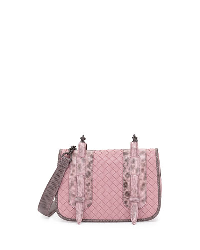 Watersnake & Leather Small Full-Flap Crossbody Bag, Pink