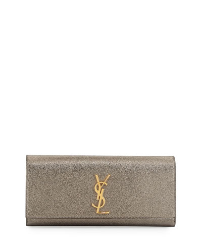 Monogram Metallic Leather Clutch Bag, Pewter Green