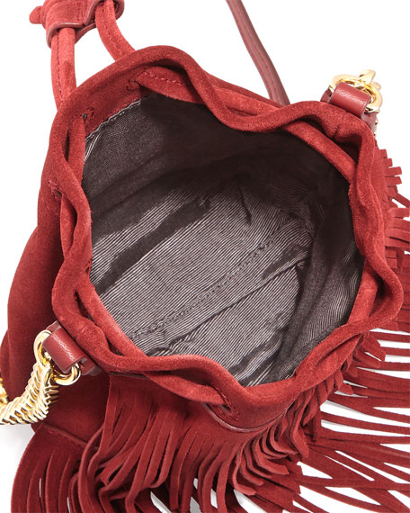 Suede Fringe Pouch Bag, Red Gala