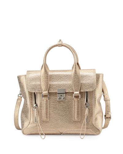 Pashli Medium Satchel Bag, Nude/Platinum