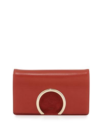 Gabrielle Lambskin Clutch Bag, Saffron Red