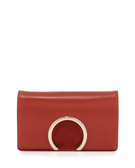 Chloe Gabrielle Lambskin Clutch Bag, Saffron Red