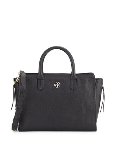 Brody Small Leather Tote Bag, Black