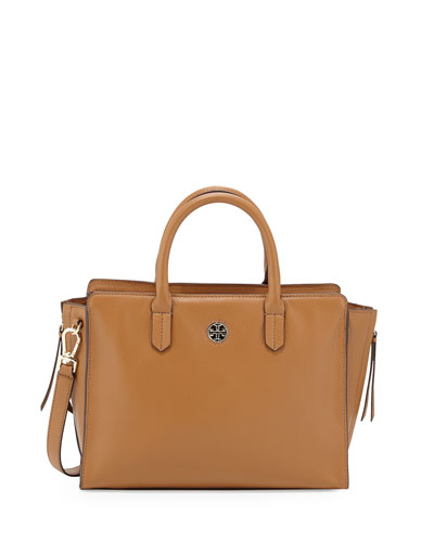 Brody Small Leather Tote Bag, Bark