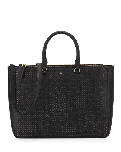 Robinson Perforated Tote Bag, Black
