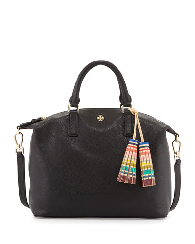Small Slouchy Satchel Bag w/Tassel, Black