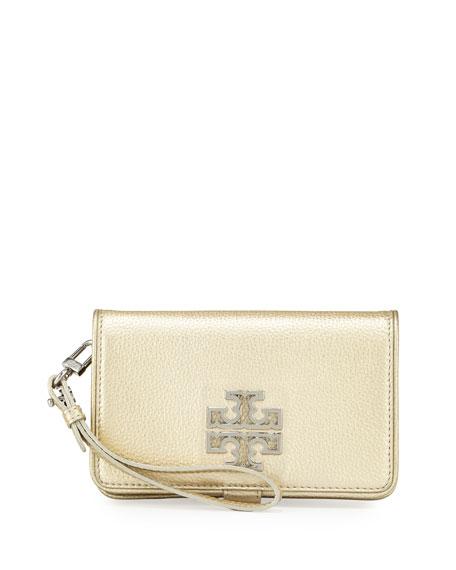 Tory Burch Britten Smartphone Wristlet Wallet, Light Gold