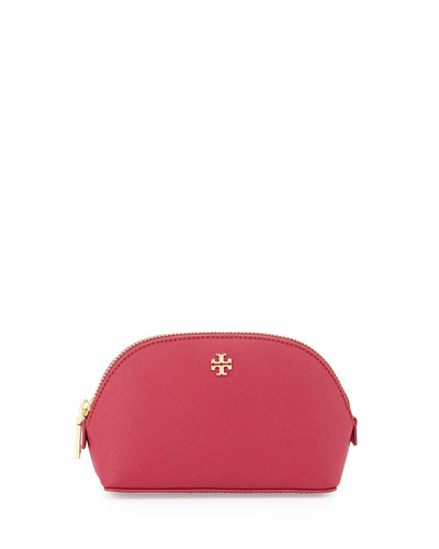 York Small Leather Makeup Bag, Raspberry