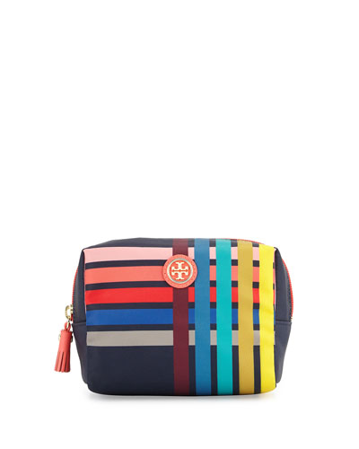 Brigitte Printed Nylon Cosmetics Bag, Navy Multi