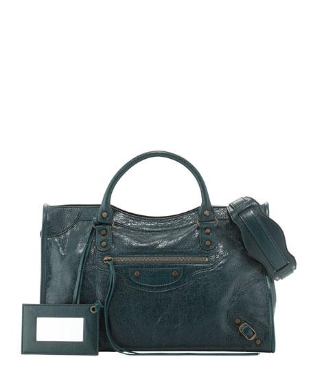 Balenciaga Classic City Lambskin Tote Bag, Green