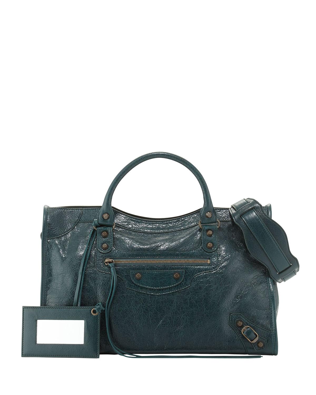 c746b07be1e Balenciaga Classic City Lambskin Tote Bag, Green | Neiman Marcus