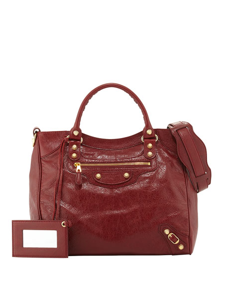 Balenciaga Giant 12 Velo Lambskin Satchel Bag, Red
