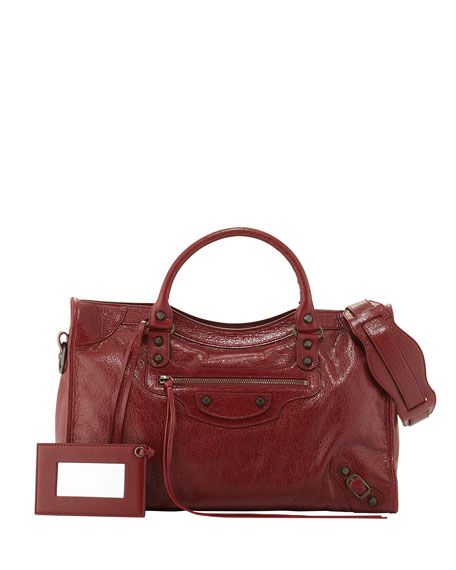 Balenciaga Classic City Lambskin Tote Bag, Red