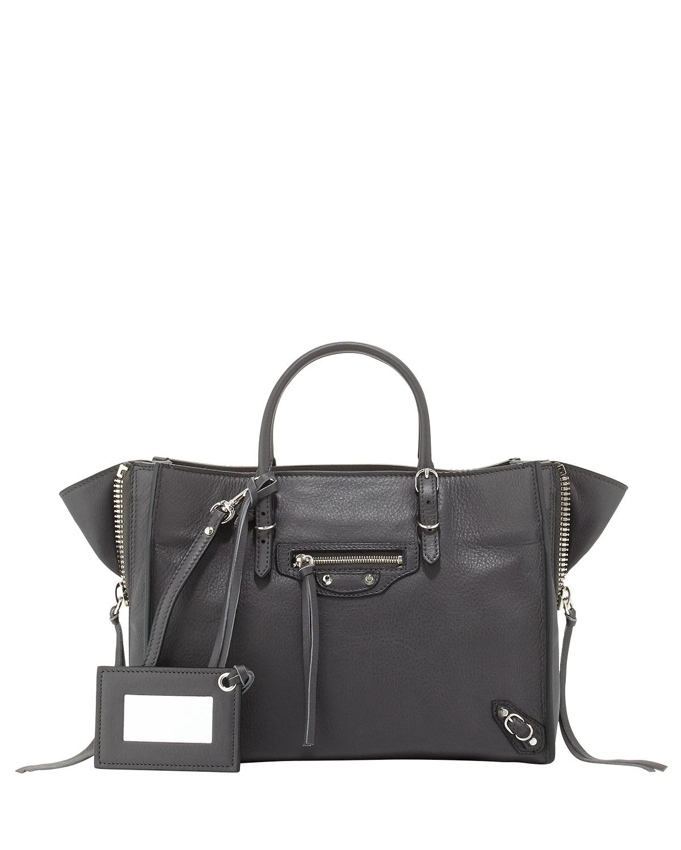 04ba3eea23e Balenciaga Papier A6 Mini Calf Zip-Around Tote Bag, Gray | Neiman Marcus