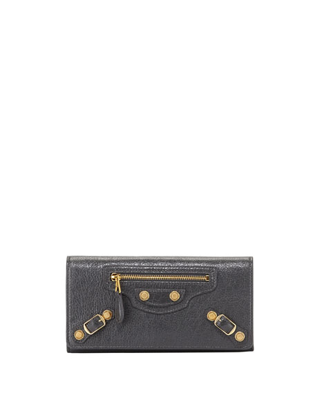 Balenciaga Giant 12 Golden Money Flap Wallet, Gray