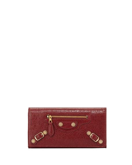 Balenciaga Giant 12 Golden Money Lambskin Wallet, Red