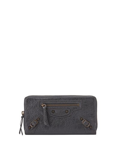 Classic Lambskin Zip Continental Wallet, Gray