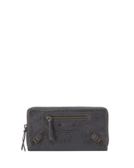 Balenciaga Classic Lambskin Zip Continental Wallet, Gray