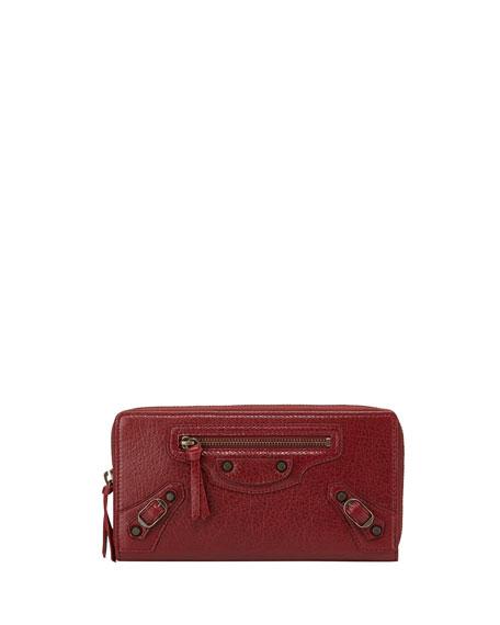 Balenciaga Classic Lambskin Zip Continental Wallet, Red