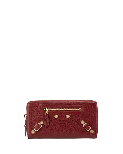 Giant 12 Golden Lambskin Zip Continental Wallet, Red