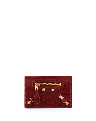 Giant 12 Golden Lambskin Card Case, Red