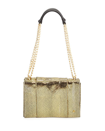 Snakeskin-Embossed Leather Shoulder Bag, Gold