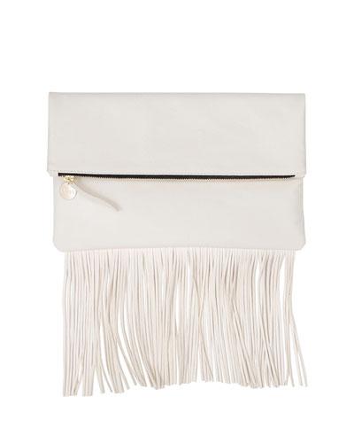 Fringe Fold-Over Clutch Bag, Cream