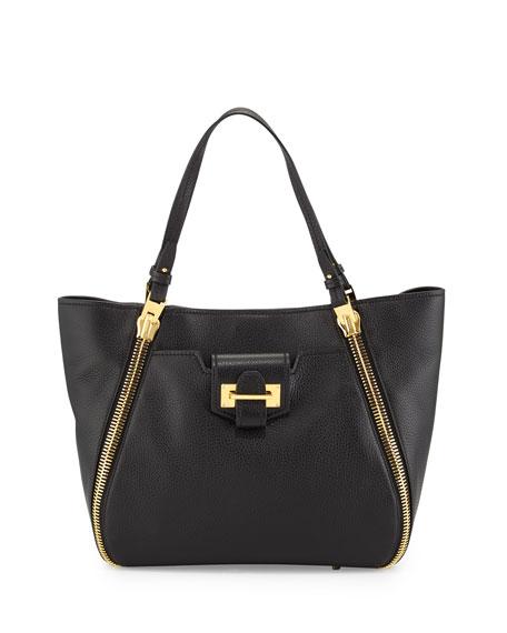 TOM FORD Medium Sedgewick Leather Zip-Trim Tote Bag, Black