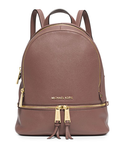 Rhea Small Zip Backpack, Dusty Rose