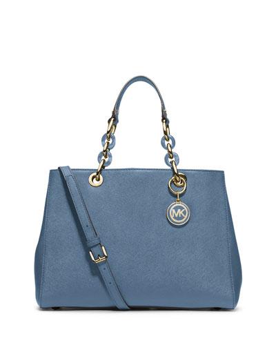 Cynthia Saffiano Medium Satchel Bag, Cornflower