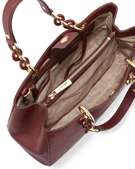 Cynthia Saffiano Medium Satchel Bag, Merlot