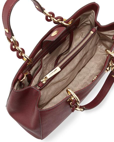 Cynthia Saffiano Medium Satchel Bag, Merlot