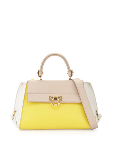 Sofia G Colorblock Leather Satchel Bag, Mimosa/Lait
