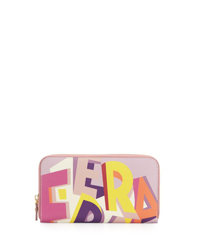 Abstract Logo-Print Wallet, Multicolor