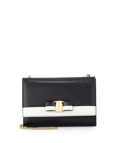 Miss Vara Bow Bicolor Shoulder Bag, Nero (Black)