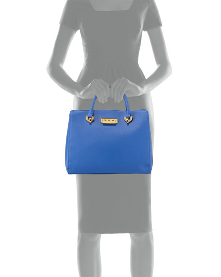 Eartha Leather Barrel Satchel Bag, Cobalt