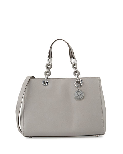 Cynthia Medium Saffiano Satchel Bag, Pearl Gray