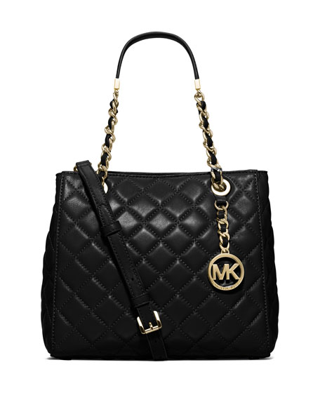 MICHAEL Michael Kors Susannah Small Quilted Tote Bag, Black ... : michael kors quilted bag - Adamdwight.com
