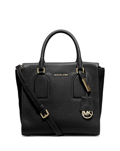 Selby Medium Zip-Top Satchel Bag, Black