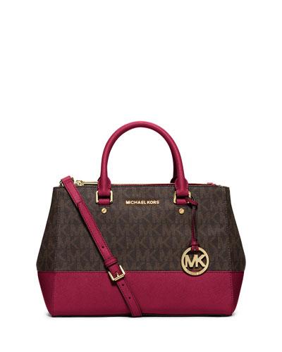 Sutton Medium Satchel Bag, Brown/Cherry