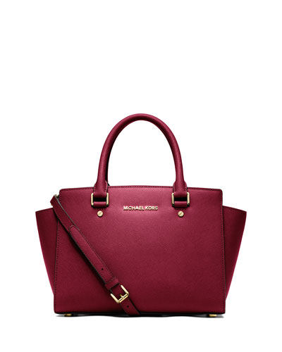 Selma Medium Top-Zip Satchel Bag, Cherry
