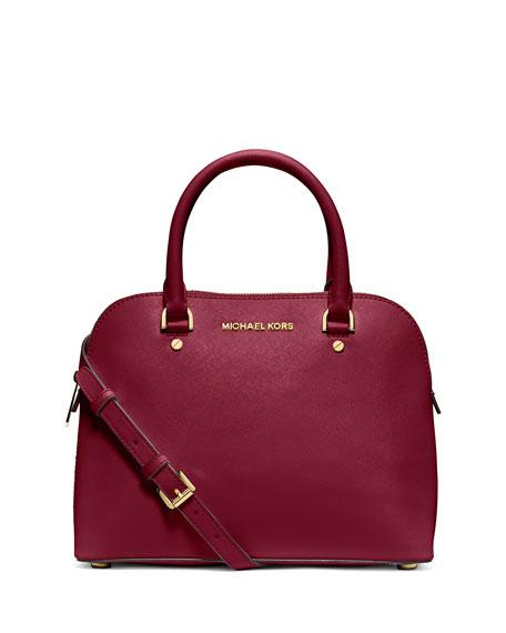 Cindy Medium Dome Satchel Bag, Cherry
