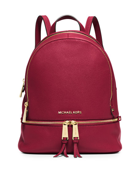 Rhea Small Leather Zip Backpack, Cherry