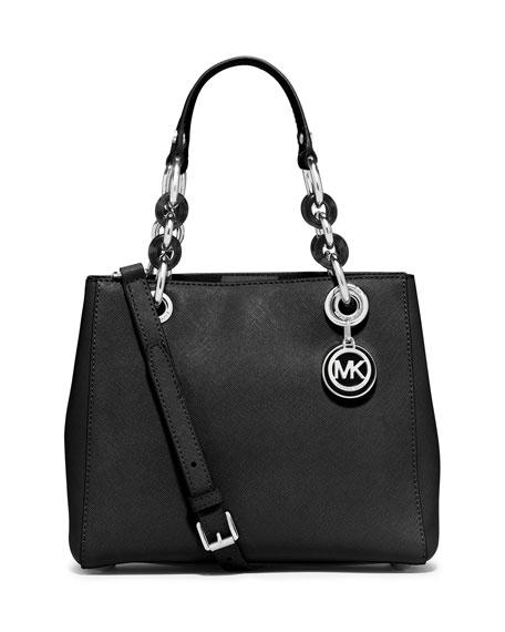 Cynthia Small North-South Satchel Bag, Black