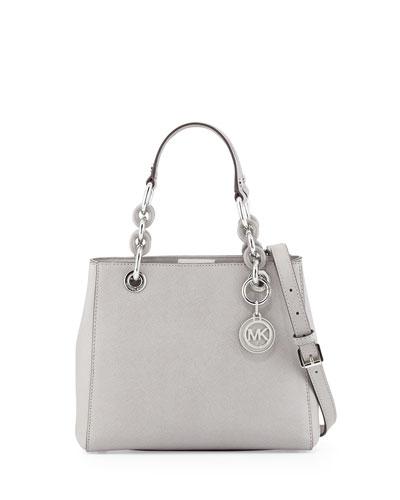 Cynthia Small Saffiano Satchel Bag, Pearl Gray