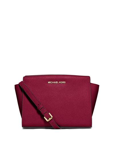 Selma Medium Saffiano Messenger Bag, Cherry