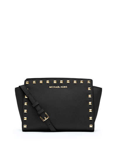 Selma Stud Medium Zip Satchel Bag, Black