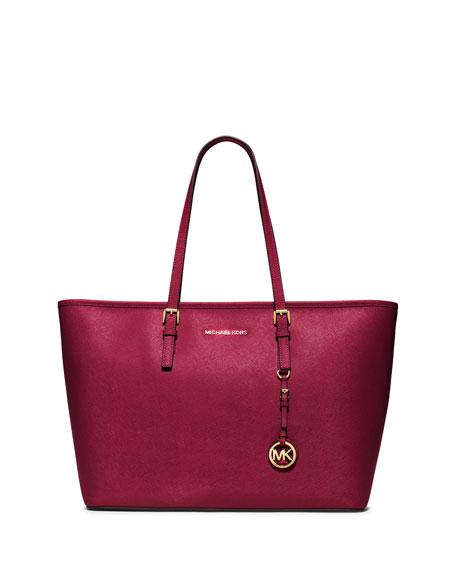 Jet Set Travel Medium Saffiano Tote Bag, Cherry