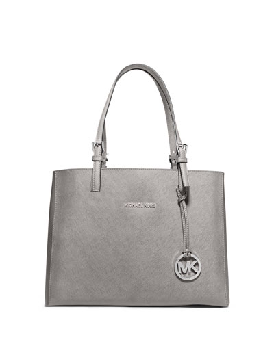 Jet Set Travel Medium Leather Multifunction Tote Bag, Pearl Gray